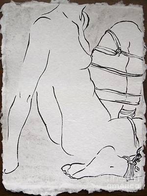 Bdsm Drawing - Self Tied by M Bellavia