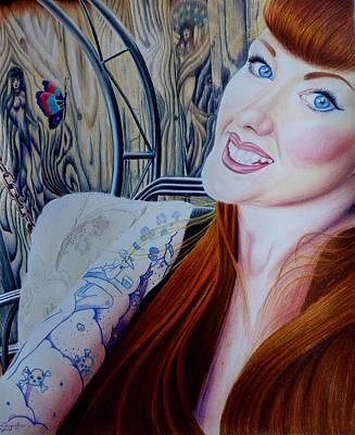 Wood Grain Drawing - Selfie Of Nisa by Jacqueline Davis