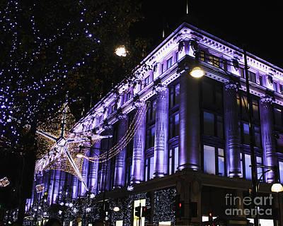 Selfridges London At Christmas Time Art Print