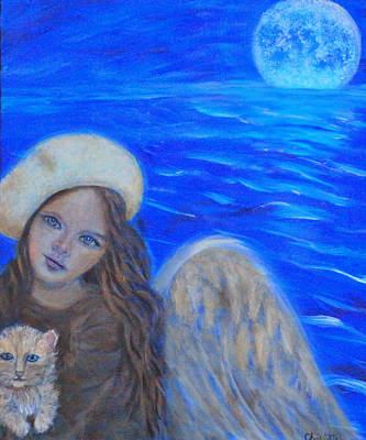 Sacred Feminine Moon Painting - Selina Little Angel Of The Moon by The Art With A Heart By Charlotte Phillips