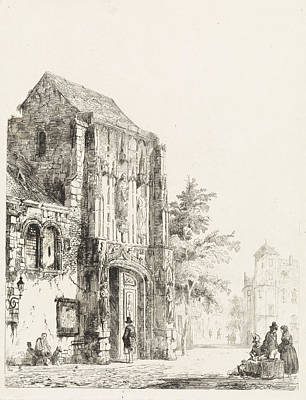 Portal Drawing - Sellers For A Church Portal, Cornelis Springer by Quint Lox