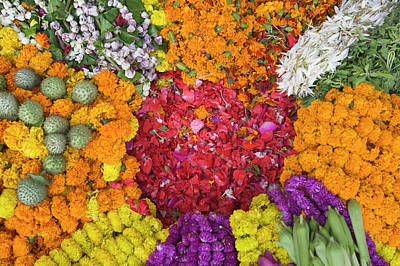 Festivals Of India Photograph - Selling Flowers For Diwali, Festival by Keren Su