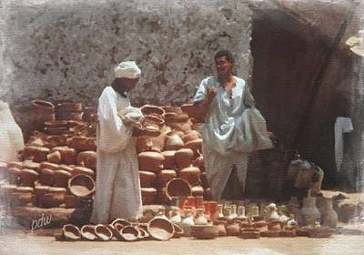 Cairo Mixed Media - Selling Terracotta In Cairo by Philip White