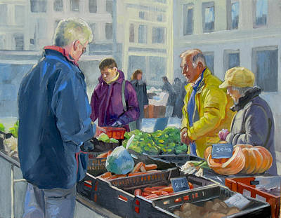 Selling Vegetables At The Market Art Print by Dominique Amendola