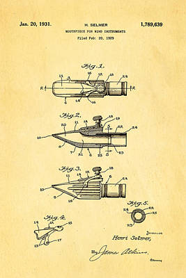 Wind Instrument Photograph - Selmer Mouthpiece For Wind Instruments Patent Art 1931 by Ian Monk
