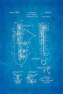 Sax Photograph - Selmer Saxophone Patent Art 1937 Blueprint by Ian Monk