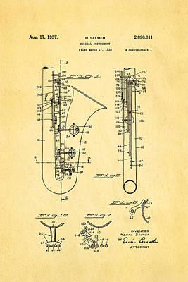 Sax Photograph - Selmer Saxophone Patent Art 1937 by Ian Monk