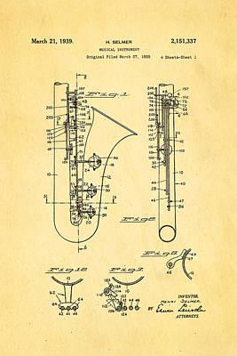 Sax Photograph - Selmer Saxophone Patent Art 1939 by Ian Monk