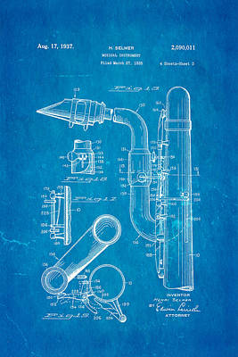 Saxophones Photograph - Selmer Saxophone Patent Art 2 1937 Blueprint by Ian Monk
