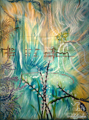 Silver Turquoise Painting - Selva Sfumato by Adriana Garces