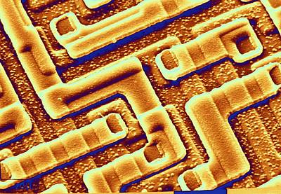 Integrated Photograph - Sem Of The Surface Of An Integrated Chip by Science Photo Library