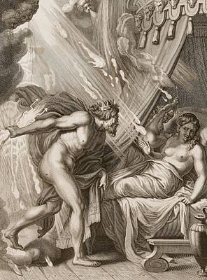 Nudes Drawing - Semele Is Consumed By Jupiters Fire by Bernard Picart