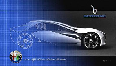 Digital Art - Semi-blueprint Of 2010 Alfa Romeo Bertone Pandion Concept  With 3d Badges  by Serge Averbukh