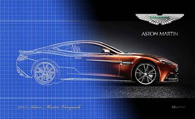 Digital Art - Semi-blueprint Of 2013 Aston Martin Vanquish With 3d Badge  by Serge Averbukh