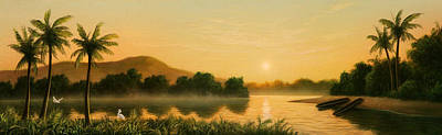 Canoes Painting - Seminole Sunset by Jerry LoFaro