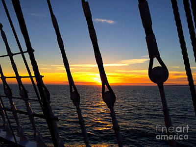 Photograph - Sun Set On Sailing Ship 2 by Jan Daniels