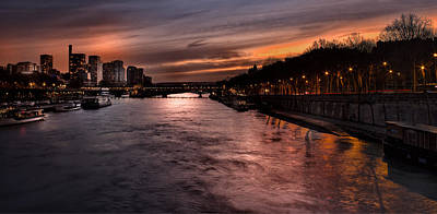 Photograph - Sena River In Paris  At Sunset by Radoslav Nedelchev