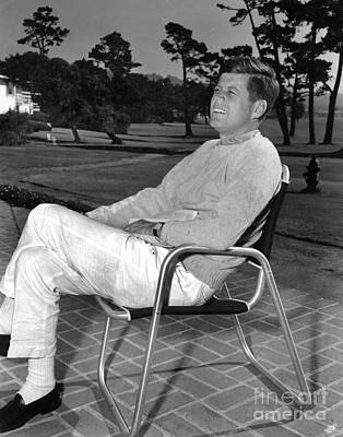Impressionist Landscapes - Senator John F Kennedy at the Lodge at Pebble Beach California May 1960 by California Views Archives Mr Pat Hathaway Archives