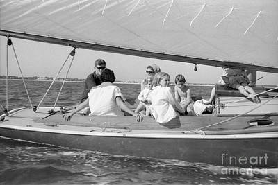 Senator John F. Kennedy With Jacqueline And Children Sailing Art Print