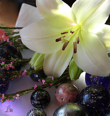 Art Print featuring the photograph Send The Light Lily With Marbles by Bonnie Willis