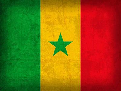 Senegal Flag Vintage Distressed Finish Art Print
