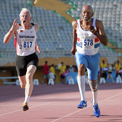Great Master Photograph - Senior Athletes Race To The Finish by Alex Rotas
