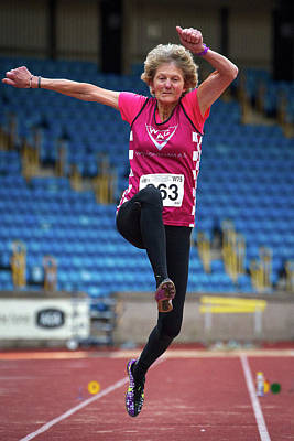 Will Power Photograph - Senior British Female Athlete Mid-air by Alex Rotas