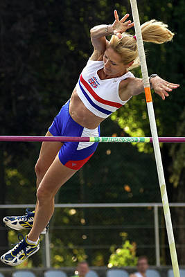 Senior British Female Pole Vaulter Art Print by Alex Rotas