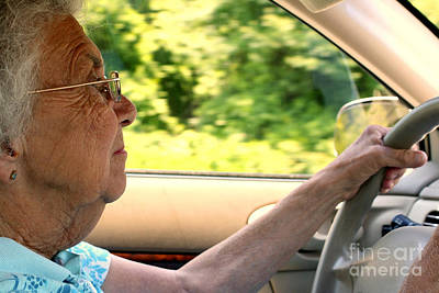 Photograph - Senior Citizen Woman Driving In Profile by Susan Stevenson