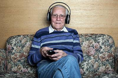 Senior Man Wearing Headphones Art Print