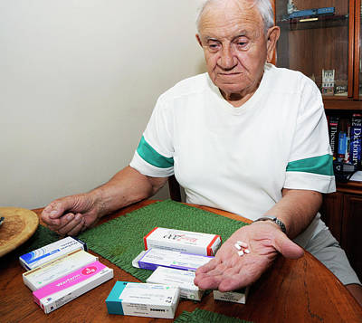 Antidepressant Photograph - Senior Man With Prescription Drugs by Public Health England