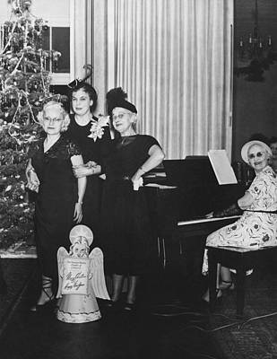 Happy New Year Photograph - Senior Women's Merry Christmas by Underwood Archives