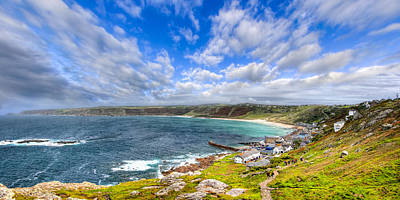 Sennen Cove Photograph - Sennen Cove Panorama - Cornwall by Mark E Tisdale
