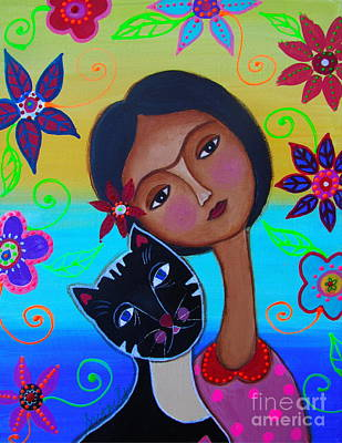 Painting - Senorita Frida With Her Cat by Pristine Cartera Turkus