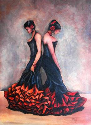 Senorita Mixed Media - Spanish Dancers by Christine Maeda