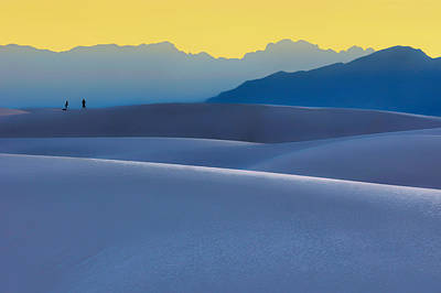 Sense Of Scale - White Sands - Sunset Print by Nikolyn McDonald