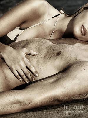Sensual Closeup Of A Couple Lying Together On Sand Art Print by Oleksiy Maksymenko