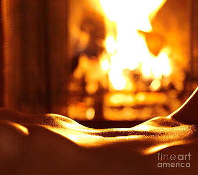 Sensual Closeup Of Nude Woman In Front Of Fireplace Art Print by Oleksiy Maksymenko