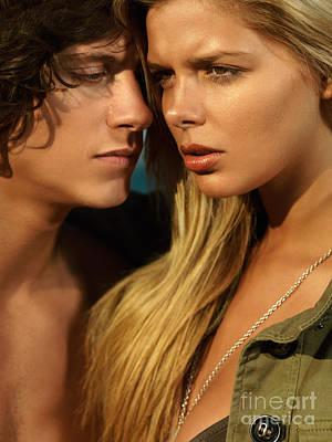 Sensual Young Couple Faces Art Print