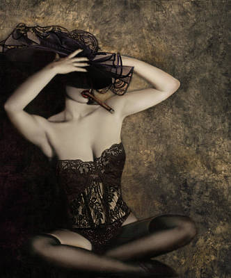 Sensuality In Sepia - Self Portrait Art Print by Jaeda DeWalt