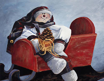 Crying Painting - Sentimental Snowman by Mary Giacomini