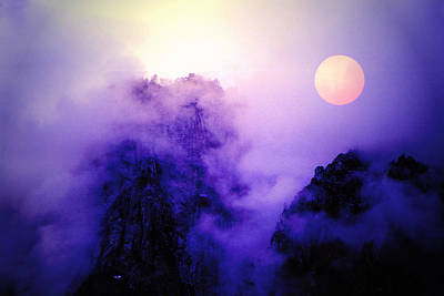 Sentinal Rock And Moon Shrouded In Mist Art Print