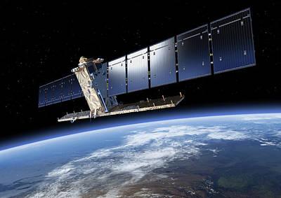 Sentinel-1 Satellite In Orbit Art Print by Atg Medialab/esa