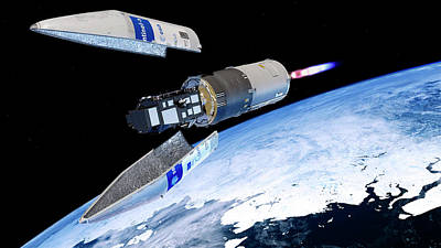 Land And Sea Photograph - Sentinel-3 Satellite Launching Into Orbit by Atg Medialab/esa