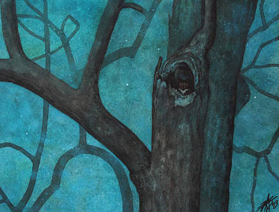 Painting - Sentinel Or Great Horned Owl In Cottonwood Tree by Robin Street-Morris