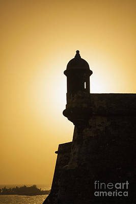 Photograph - Sentry Box At Sunset At El Morro Fortress In Old San Juan by Bryan Mullennix