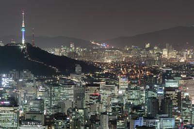 Seoul City Skyline At Night Overview Art Print by Steffen Schnur