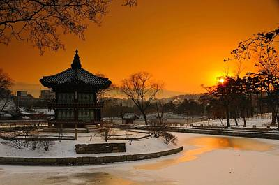 Winter Scenery Photograph - Seoul Palace Sunset by Aaron Bedell
