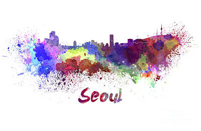 Korea Painting - Seoul Skyline In Watercolor by Pablo Romero
