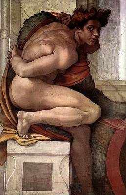 Papal Painting - Separation Of Land From Sea - Ignudo Detail by Michelangelo Buonarroti